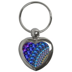 Blue Sunrise Fractal Key Chain (Heart) by KirstenStar