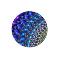 Blue Sunrise Fractal Magnet 3  (round) by KirstenStar