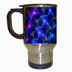 Blue Sunrise Fractal Travel Mug (white) by KirstenStar