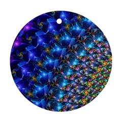 Blue Sunrise Fractal Round Ornament (two Sides) by KirstenStar
