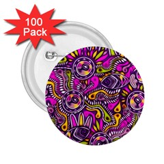 Purple Tribal Abstract Fish 2 25  Button (100 Pack) by KirstenStar