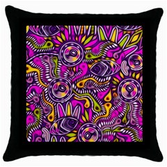 Purple Tribal Abstract Fish Black Throw Pillow Case by KirstenStar