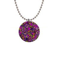 Purple Tribal Abstract Fish Button Necklace by KirstenStar