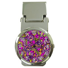 Purple Tribal Abstract Fish Money Clip With Watch by KirstenStar