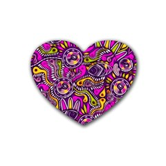 Purple Tribal Abstract Fish Drink Coasters (heart) by KirstenStar