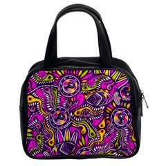 Purple Tribal Abstract Fish Classic Handbag (two Sides) by KirstenStar
