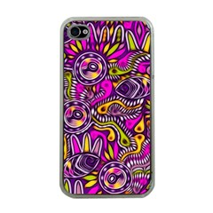 Purple Tribal Abstract Fish Apple Iphone 4 Case (clear) by KirstenStar