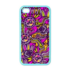 Purple Tribal Abstract Fish Apple Iphone 4 Case (color) by KirstenStar