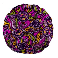 Purple Tribal Abstract Fish Large 18  Premium Round Cushion  by KirstenStar