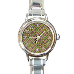 Multicolor Geometric Ethnic Seamless Pattern Round Italian Charm Watch by dflcprints