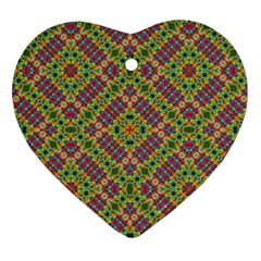 Multicolor Geometric Ethnic Seamless Pattern Heart Ornament by dflcprints