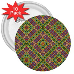 Multicolor Geometric Ethnic Seamless Pattern 3  Button (10 Pack) by dflcprints