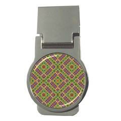 Multicolor Geometric Ethnic Seamless Pattern Money Clip (round)