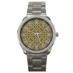 Multicolor Geometric Ethnic Seamless Pattern Sport Metal Watch by dflcprints