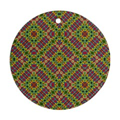 Multicolor Geometric Ethnic Seamless Pattern Round Ornament (two Sides) by dflcprints