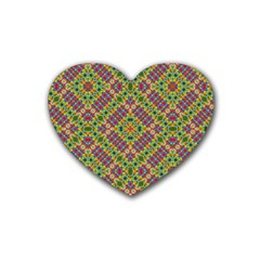 Multicolor Geometric Ethnic Seamless Pattern Drink Coasters (heart) by dflcprints