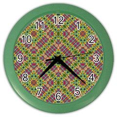 Multicolor Geometric Ethnic Seamless Pattern Wall Clock (color) by dflcprints