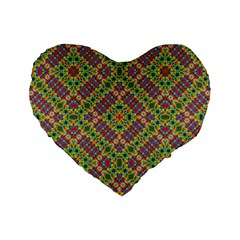 Multicolor Geometric Ethnic Seamless Pattern Standard 16  Premium Flano Heart Shape Cushion  by dflcprints