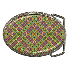 Multicolor Geometric Ethnic  Belt Buckle (oval) by dflcprintsclothing
