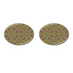 Multicolor Geometric Ethnic  Cufflinks (oval) by dflcprintsclothing