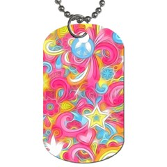 Hippy Peace Swirls Dog Tag (two Sided)  by KirstenStar
