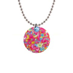 Hippy Peace Swirls Button Necklace