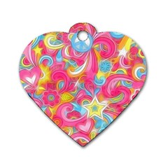 Hippy Peace Swirls Dog Tag Heart (one Sided)  by KirstenStar