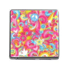 Hippy Peace Swirls Memory Card Reader With Storage (square) by KirstenStar