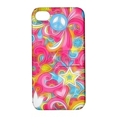 Hippy Peace Swirls Apple Iphone 4/4s Hardshell Case With Stand by KirstenStar