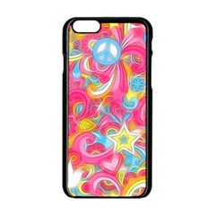 Hippy Peace Swirls Apple Iphone 6 Black Enamel Case by KirstenStar