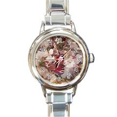 Blossom Butterfly Watercolour Round Italian Charm Watch by DeneWestUK