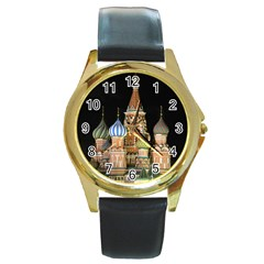 Saint Basil s Cathedral  Round Leather Watch (gold Rim)  by anstey