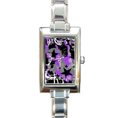 Purple Scene Kid Rectangular Italian Charm Watch by ArtistRoseanneJones