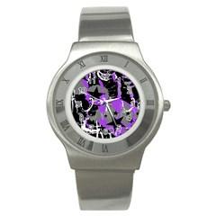 Purple Scene Kid Stainless Steel Watch (slim) by ArtistRoseanneJones