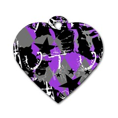 Purple Scene Kid Dog Tag Heart (one Sided)  by ArtistRoseanneJones