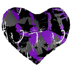 Purple Scene Kid Large 19  Premium Flano Heart Shape Cushion by ArtistRoseanneJones