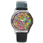 Colorful Autumn Round Leather Watch (Silver Rim)