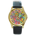 Colorful Autumn Round Leather Watch (Gold Rim)