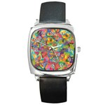 Colorful Autumn Square Leather Watch