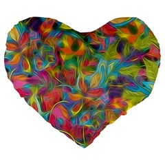 Colorful Autumn Large 19  Premium Heart Shape Cushion by KirstenStar