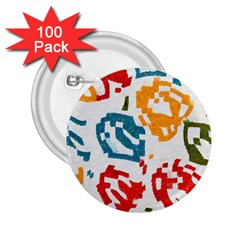 Colorful Paint Stokes 2 25  Button (100 Pack) by LalyLauraFLM
