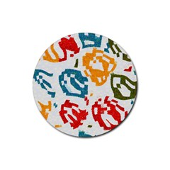 Colorful Paint Stokes Rubber Coaster (round) by LalyLauraFLM