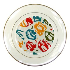 Colorful Paint Stokes Porcelain Plate by LalyLauraFLM