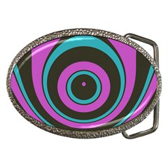 Distorted Concentric Circles Belt Buckle by LalyLauraFLM