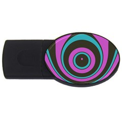 Distorted Concentric Circles Usb Flash Drive Oval (4 Gb) by LalyLauraFLM