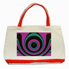 Distorted Concentric Circles Classic Tote Bag (red) by LalyLauraFLM