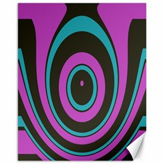 Distorted Concentric Circles Canvas 11  X 14  by LalyLauraFLM