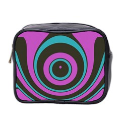 Distorted Concentric Circles Mini Toiletries Bag (two Sides) by LalyLauraFLM