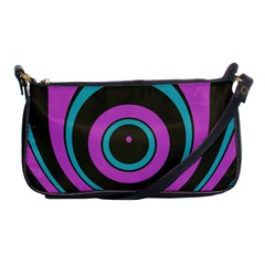 Distorted Concentric Circles Shoulder Clutch Bag by LalyLauraFLM