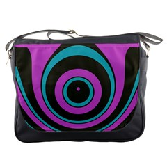 Distorted Concentric Circles Messenger Bag by LalyLauraFLM
